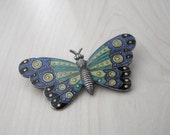 Vintage Art Deco Butterfly Brooch, Guilloche Brooch, Art Deco Brooch, Guilloche Enameled Brooch