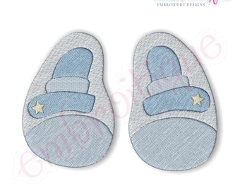 Baby Boy Shoes Filled- Instant Download -Digital Machine Embroidery Design