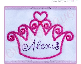 Curly Princess Crown- Instant Email Delivery Download Machine embroidery design