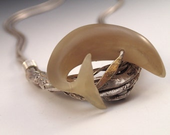 Whale in Kelp Necklace Hand Carved Horn