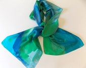 Silk Scarf,Hand Designed, Blues, Greens,Oceans,15x72 inches,Or Table Runner, Table Scarf