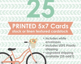 25 Professionally Printed 5x7 Flat Cards with White Envelopes