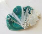 MINT and IVORY Peacock Feather Clip Rhinestone Elegant Bridal  Wedding Fascinator Clip Bridesmaid Maid of Honor
