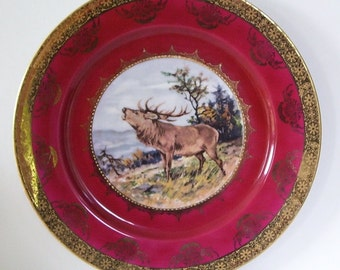 Stunning Bugling  Elk Collector Plate S.T. W Bavaria Germany, Gold Trim, Deep Wine Color. Porcelain Cabinet Plate, Animal Plate