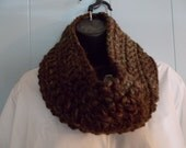 Earth Tones Hand Crocheted Cowl in soft bulky yarn FREE US SHIPPING