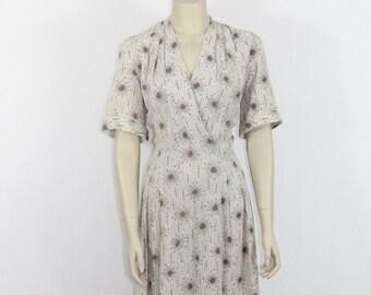 1950s Vintage Dress - Atomic Novelty Print Plus Size Day Dress - 44 / 36 / full