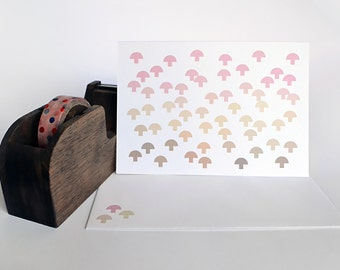 Minimalist Mushroom Card in Brown, Yellow Gold and Pink