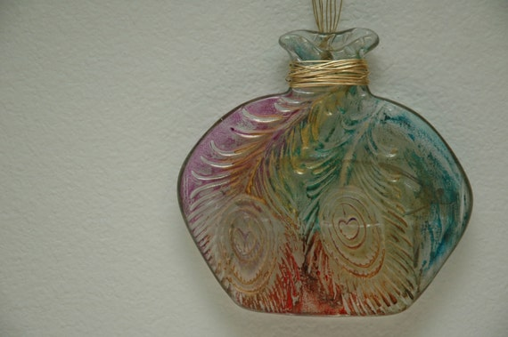 Glass bottle wall decor : Peacock feather glass bottle wall hanging gold dusted