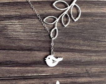 Tweet Tweet Bird and Branch Lariat - Perfect Gift - Sterling Silver Chain - Gift Boxed - Gift For - Minimalist - The Lovely Raindrop