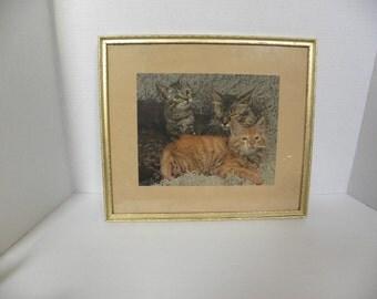 Vintage3 little Kittens Cat Artwork --  Framed Lithograph in Gold Wooden frame