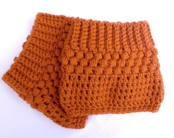 Orange Boot Socks Burnt Orange Crochet Boot Cuff Teen Fashion Boot Topper Boot Tops Women's Boot Cuff  Hand Crocheted Items