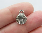 BULK 50 Shell charms antique silver tone SS32