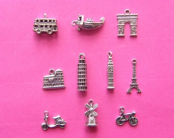 The I Love Europe Collection - 10 different antique silver tone charms
