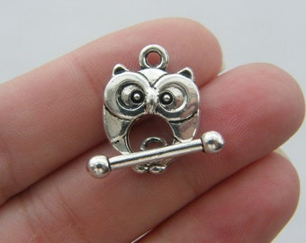 6 Owl toggle clasps antique silver tone FS77