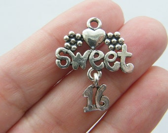 4 Sweet 16 dangle charms antique silver tone M115