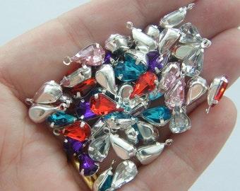 50 TEARDROP rhinestone charms silver tone