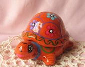 Vintage Ceramic Mexico Pottery Turtle Jewelry Trinket Statue