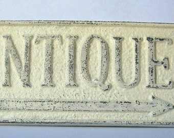 Cast Iron Rustic Antique Sign/ Home Decor/ Wall Decor Plaque in Off White