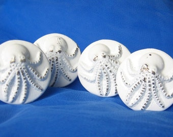 Nautical Rustic Octopus Metal Knobs- Set of 4/Painted in Rustic White
