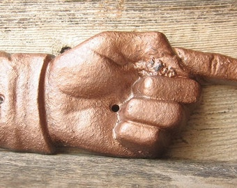 Sale - Cast Iron Pointer Hand Sign/  /Rustic Industrial /Painted in Hammered Copper