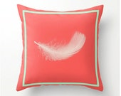 Feather Design 2 - Pantone Hemlock and Cayenne - square accent pillow - toss cushion decorative throw pillow - feather decor - sofa cushions
