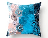 SWIRLY SEA decorative pillow, scatter cushion, pinkish beige blue and black home decor, dorm room decor, pillow covers, cushion covers