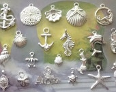 20pcs sea-beach-nautical-Marine - themed charms - pendant - mix - collection - all bright silver plated - shell-starfish-turtles