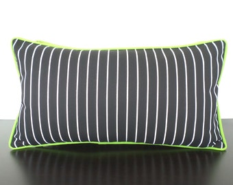 Black and white striped pillow cover 21x11, desk chair pillow back support, modern pillow piping , small lumbar pillow , pinstripe cushion