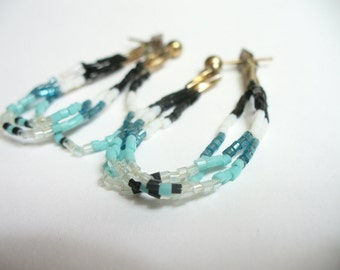 Vintage beaded dangle earrings - blue black & white seed beads with silver - vintage costume jewelry