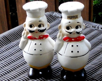 Vintage Chef Salt Pepper Shakers Roly Poly