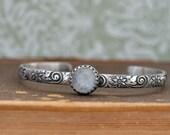 sterling silver bracelet bangle MOONLIT antiqued sterling silver bangle bracelet with natural rainbow color moonstone