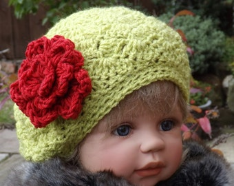 CROCHET PATTERN - Serena Slouch Hat and Rose - Child and Adult sizes PDF