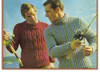 BARGAIN PRICE Knitting PATTERN Men's Cable Pullover - Sizes 40 - 46