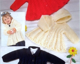 KNITTING PATTERN - Chunky Jackets/Coats to fit 0-3 months up to 5-6 years - 6 sizes