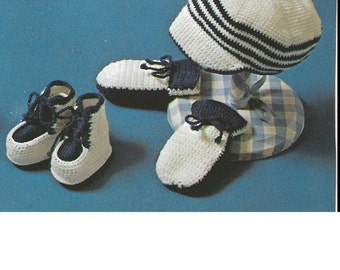 Vintage Crochet Pattern PDF Baby Bebé Nautical Sailor Baker Boy Urchin Hat Peak Cap Mittens Bootees in 3 ply Digital Download