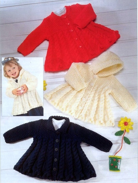 Knitting Patterns For Jackets Chunky : KNITTING PATTERN Chunky Jackets/Coats to fit 0-3 months up