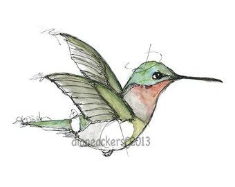Bird painting Hummingbird bird illustration art print matted mixed media teal blue green