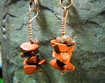 RED Jasper Earrings on Copper Wire