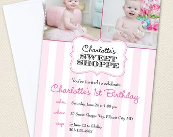 Sweet Shoppe Party Photo Invitations- Professionally printed - Printable file also available