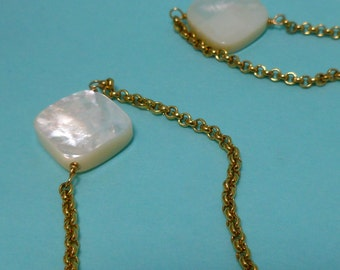 Gold Washed Sterling and Mother of Pearl Necklace 44 inches Vermeil