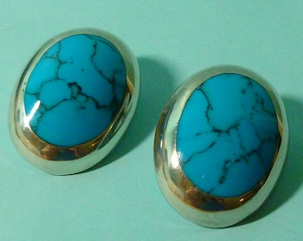 50% OFF SALE Big Blue Howelite and Sterling Clip on Earrings Mexican Silver