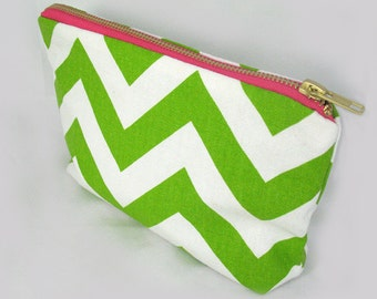 Chevron Green Zipper Clutch - Pink Metal Zipper