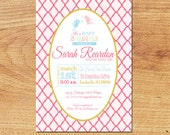Baby Girl Shower Invitation-Digital Custom Card-Fairies