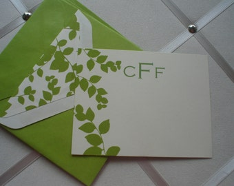 Leafy Green Creme Flat with Coordinating  Lined Envelopes Flats Five for Five