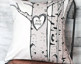 Cotton Anniversary Gift Wedding Gift Birch Tree Personalized Pillow Cover