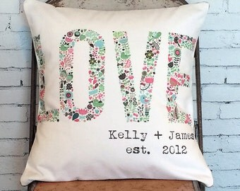 Wedding gift Cotton Anniversary Gift Floral Love pillow cover