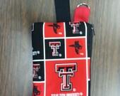 SALE, Texas Tech Wristlet/Wallet/Cell Phone holder (Cotton) -  Free Ship