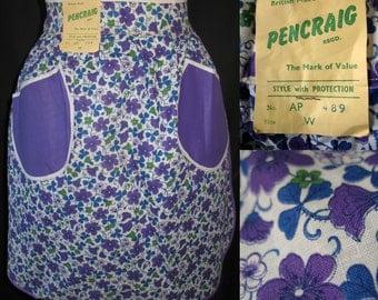 Vintage 1960s Half Apron Cotton NOS Purple Flower Print NWT