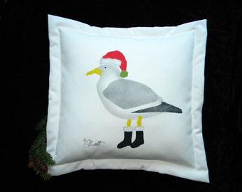 """Christmas pillow seagull Santa 20"""" (50cm) outdoor holiday beach ocean coastal birding shelling Crabby Chris Original"""