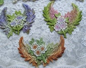 Venise Lace Leaves Fairy Angel Wings Hand Dyed Embellishment Crazy Quilt Applique